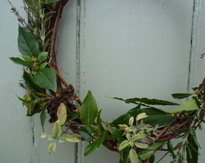 Christmas wreath herbs