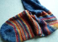 sock knitted top down garter stitch heel