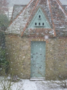 dovecote in snow