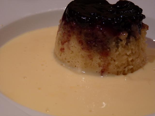 jam sponge and custard