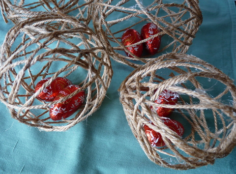 string easter eggs with eggs