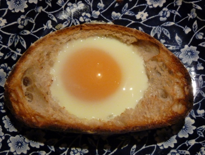 egg in a slice of toast