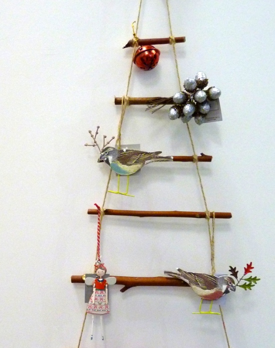 a christmas tree from twigs