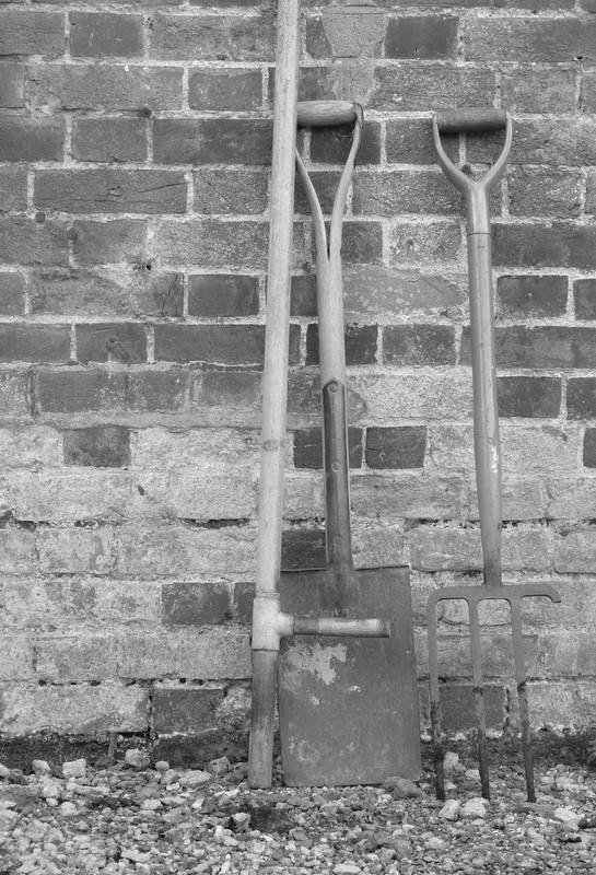 leek dibber, spade and fork