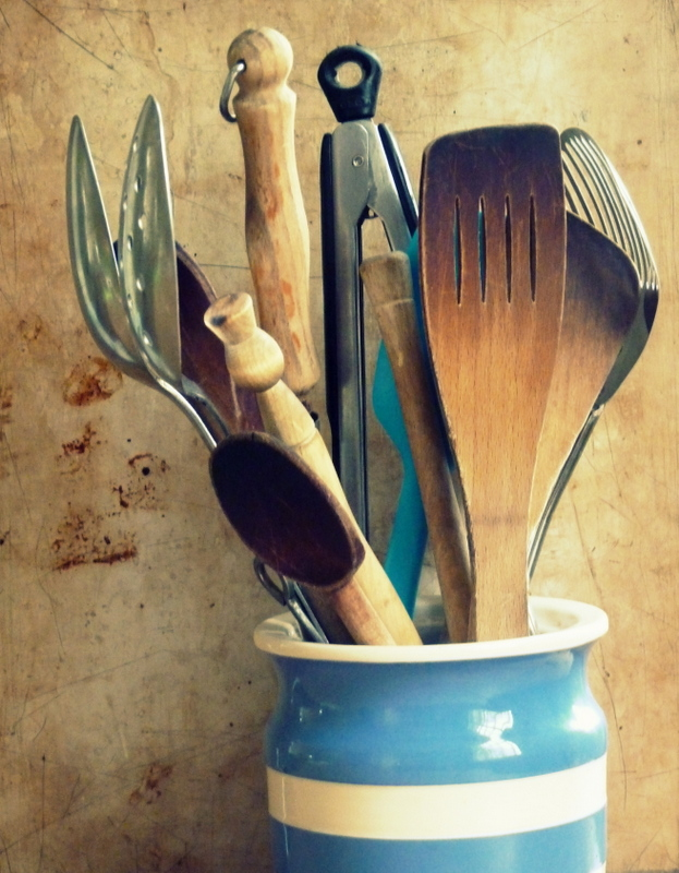 jar of kitchen utensils