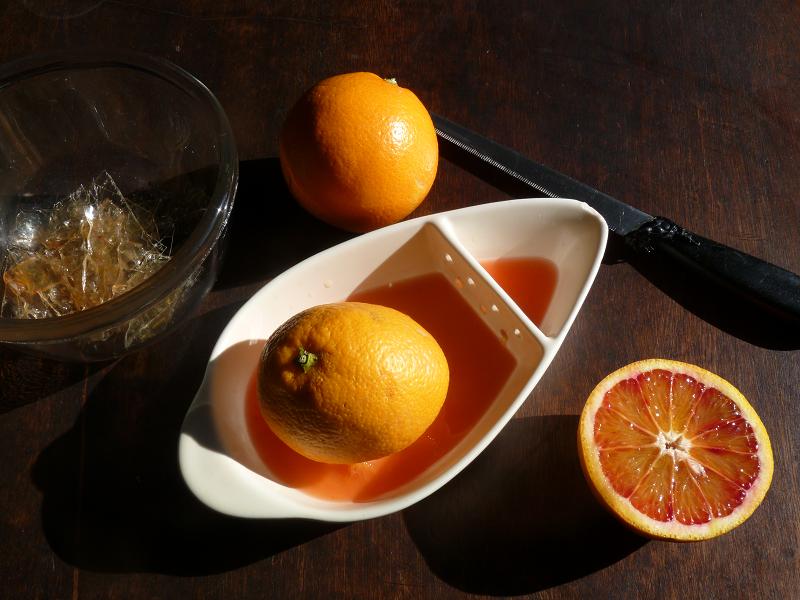 making blood orange jelly
