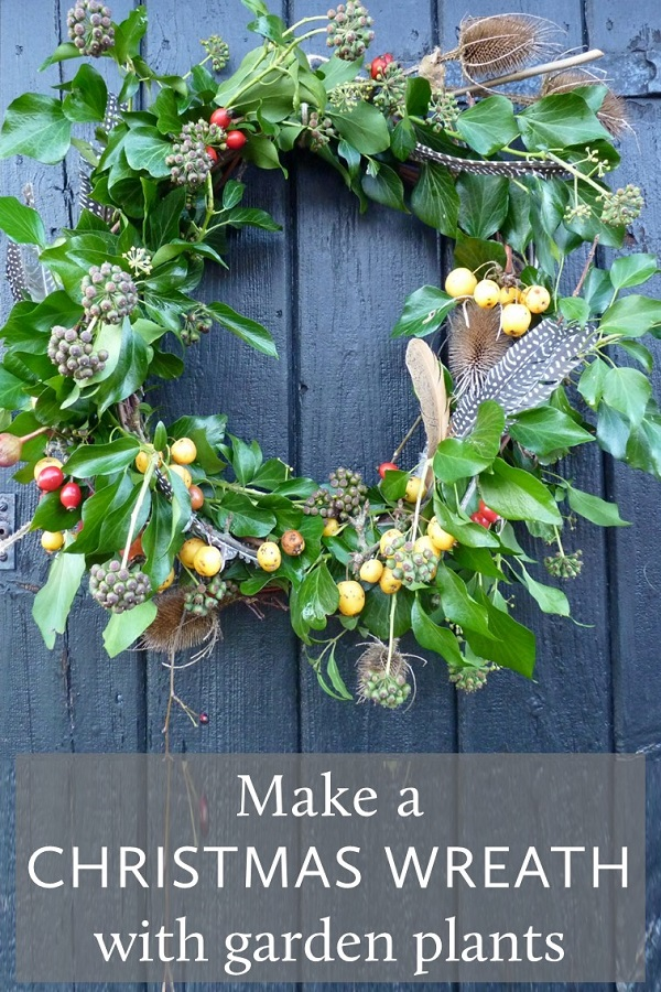 how to make a Christmas wreath with garden plants