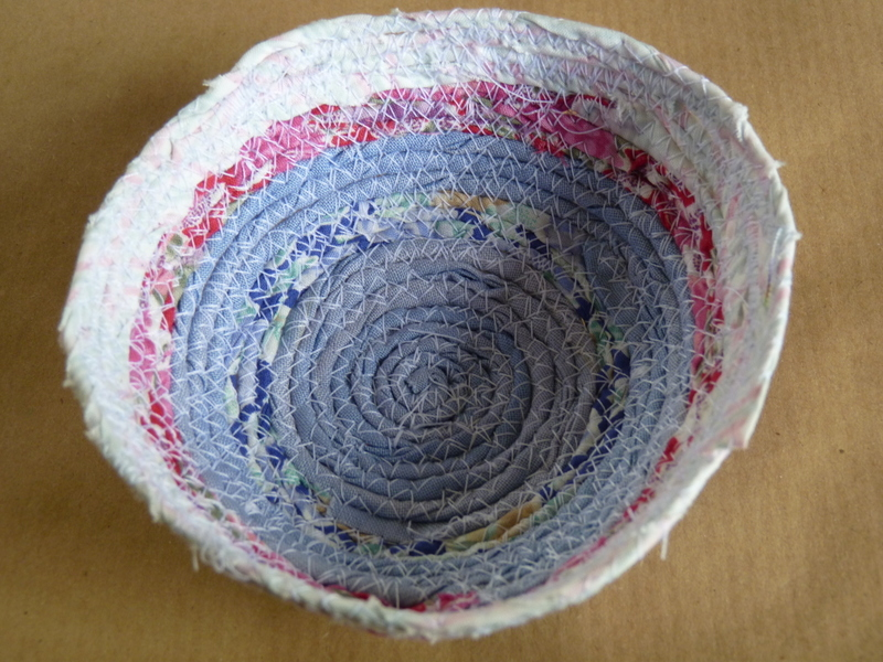 miniature basket made with fabric cords