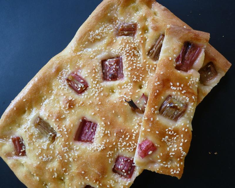 rhubarb and sesame flatbread