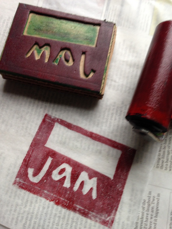 jam label printed on baking parchment