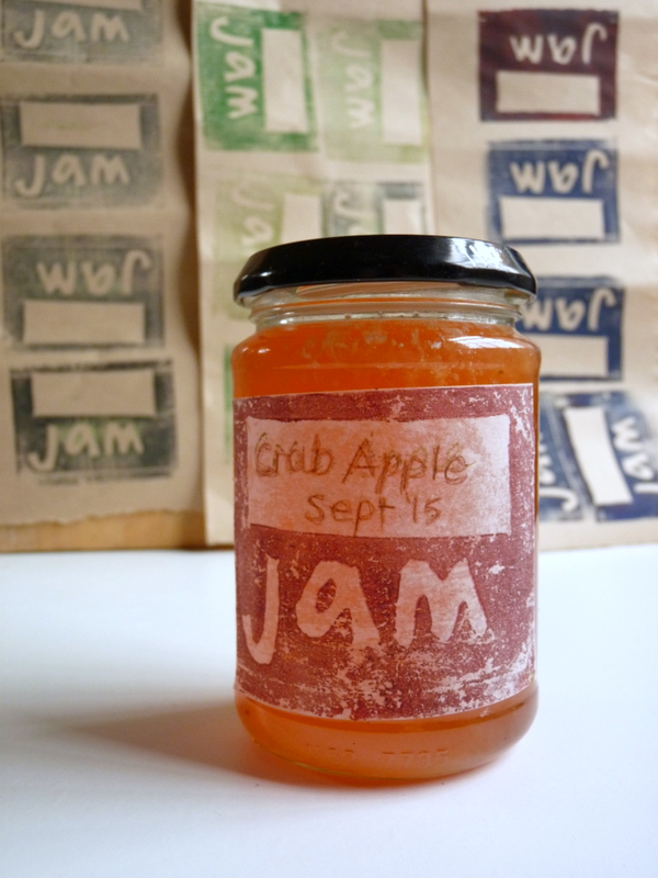 hand printed jam label