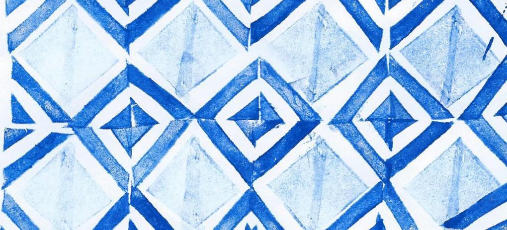 potato print geometric pattern