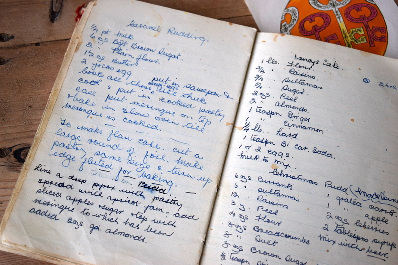 hand written recipe book
