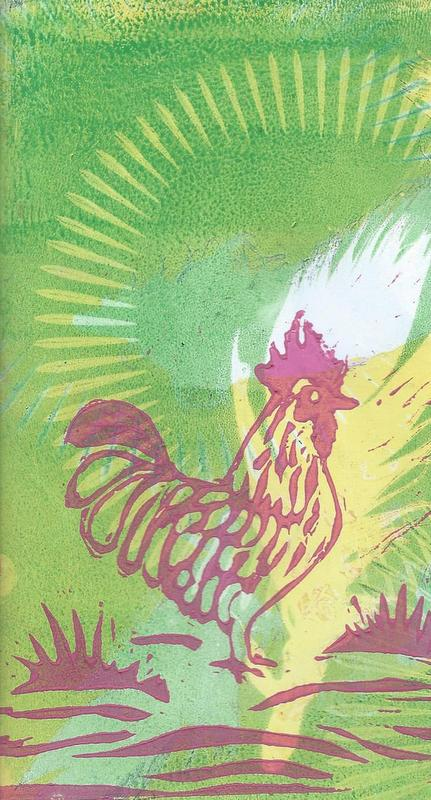 lino print cockerel