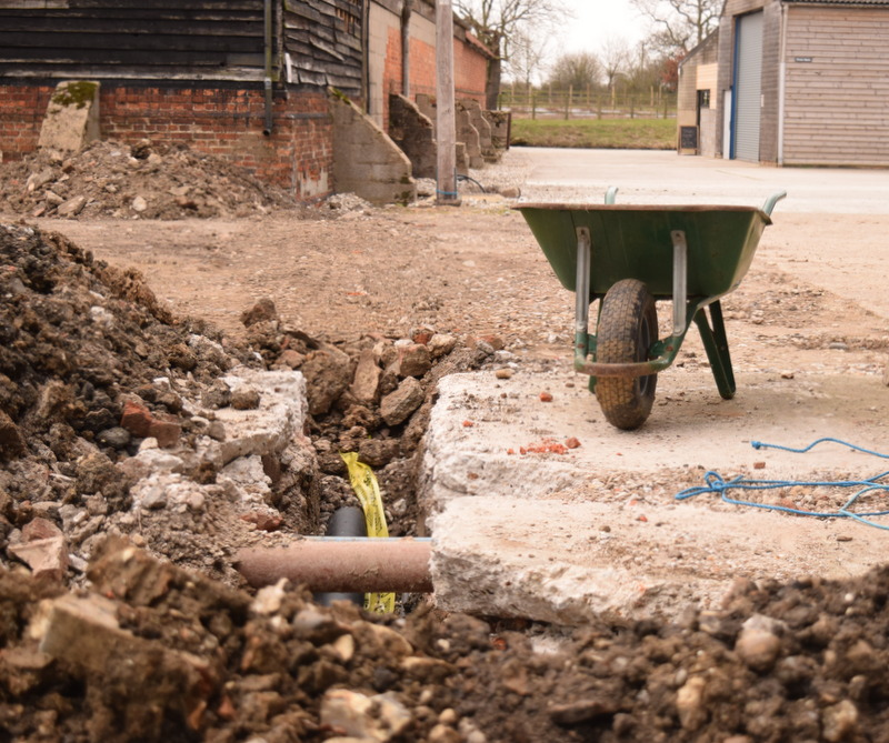 digging holes in concrete