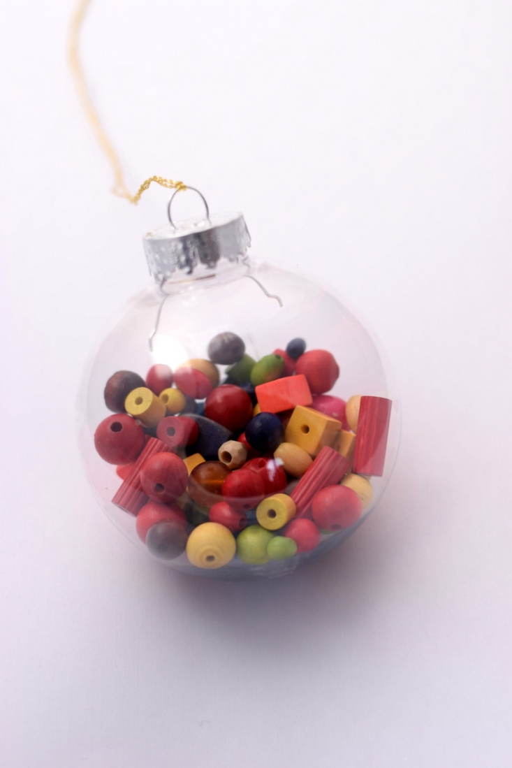 wooden beads in Christmas bauble