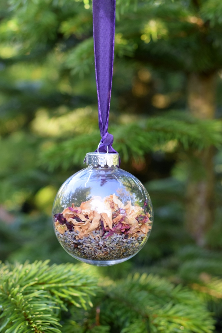 Dried lavender and rose petals in clear bauble