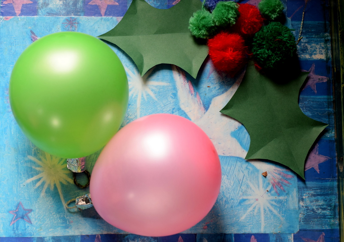 balloon baubles and pompom holly sprig