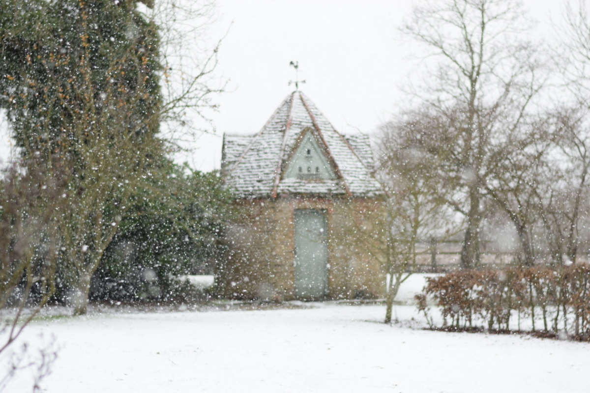 dovecote in the snow