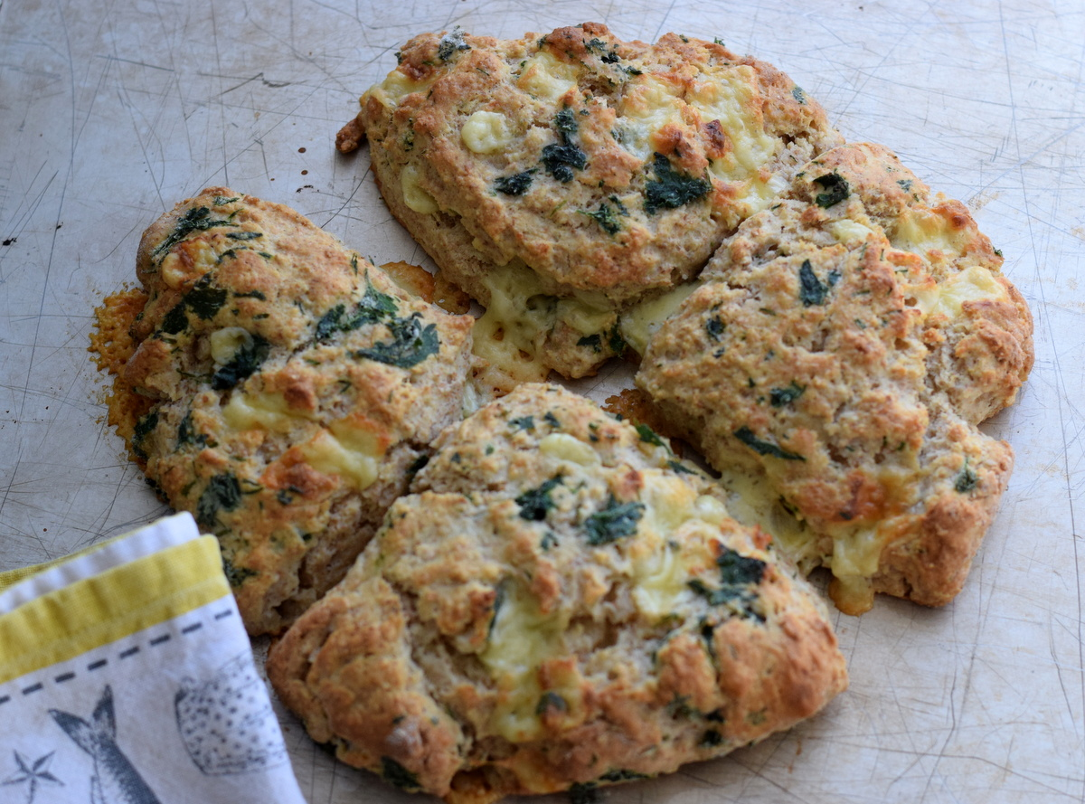 Nettle, cheese and chive scones