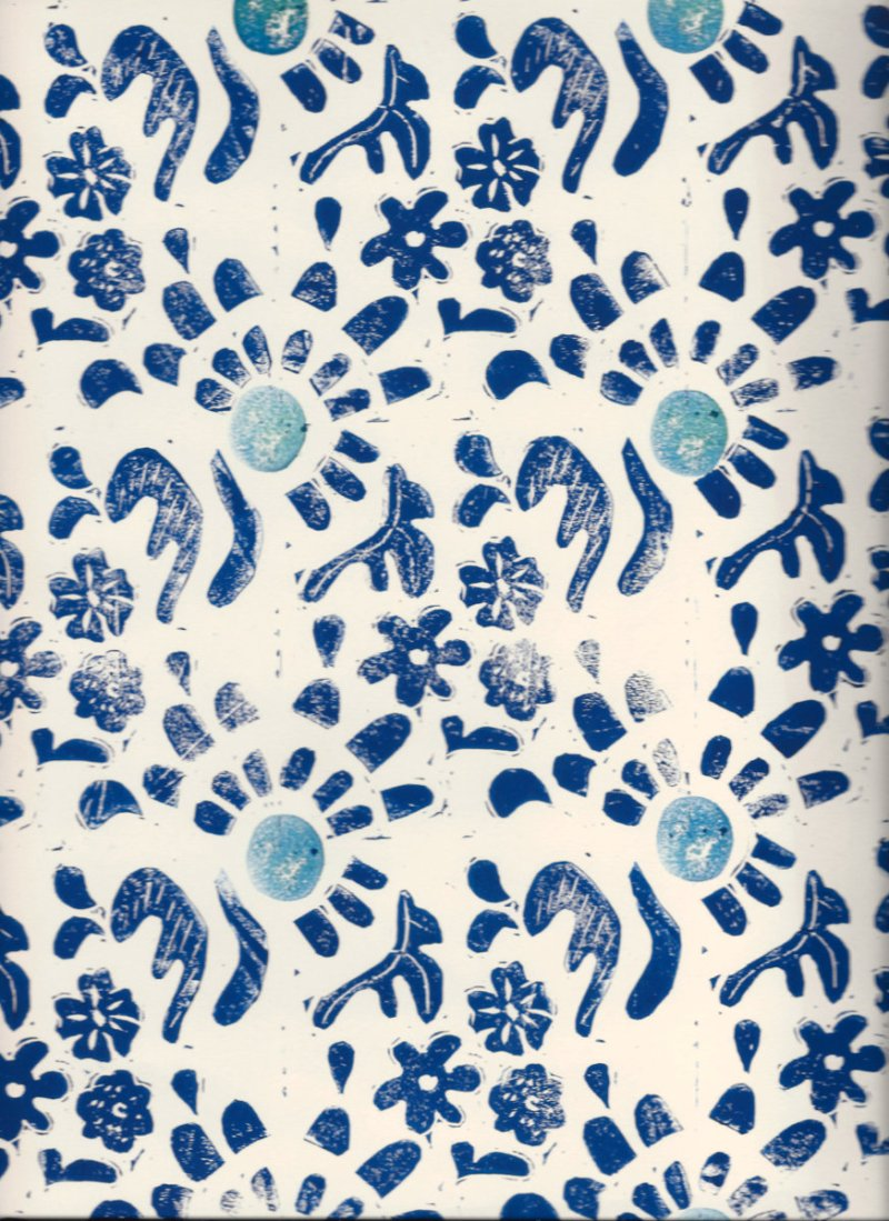 spring flowers lino print