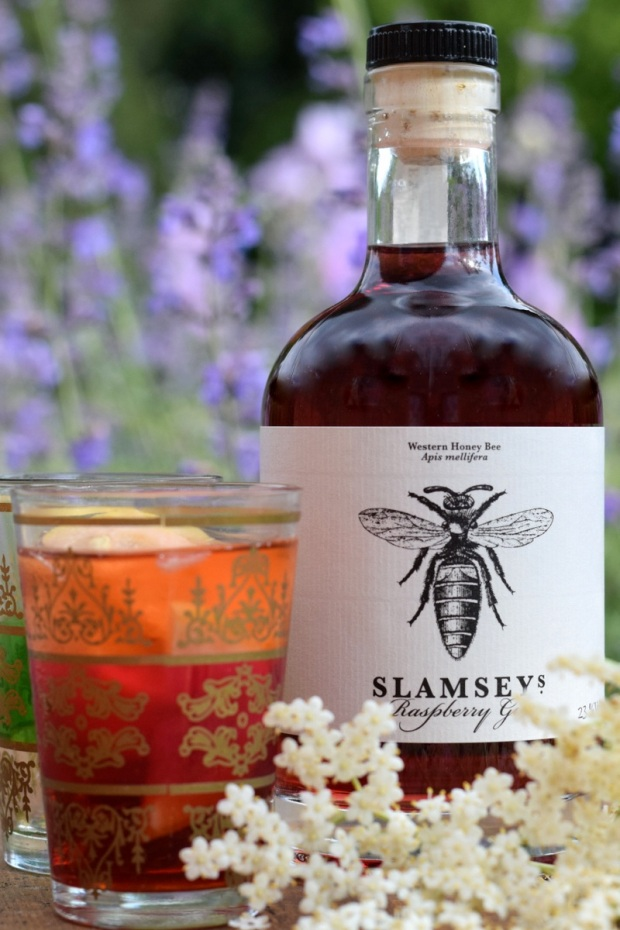 Slamseys raspberry gin with elderflower presse
