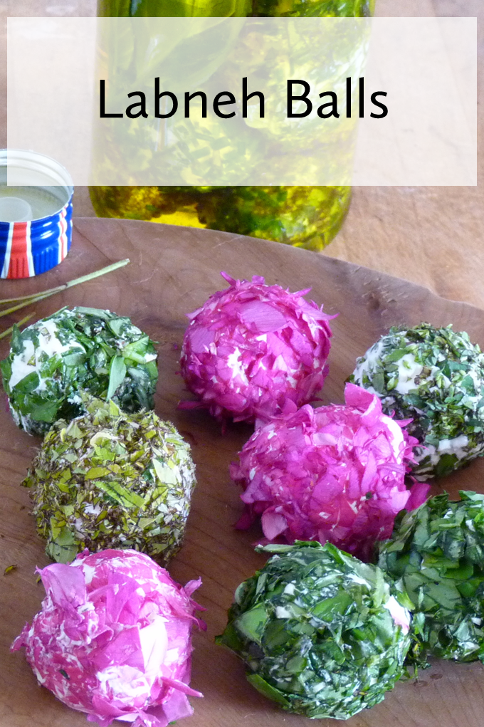 Make these pretty little fresh cheese balls to eat with flatbreads and salads. Perfect for summer eating and incredibly easy to make.