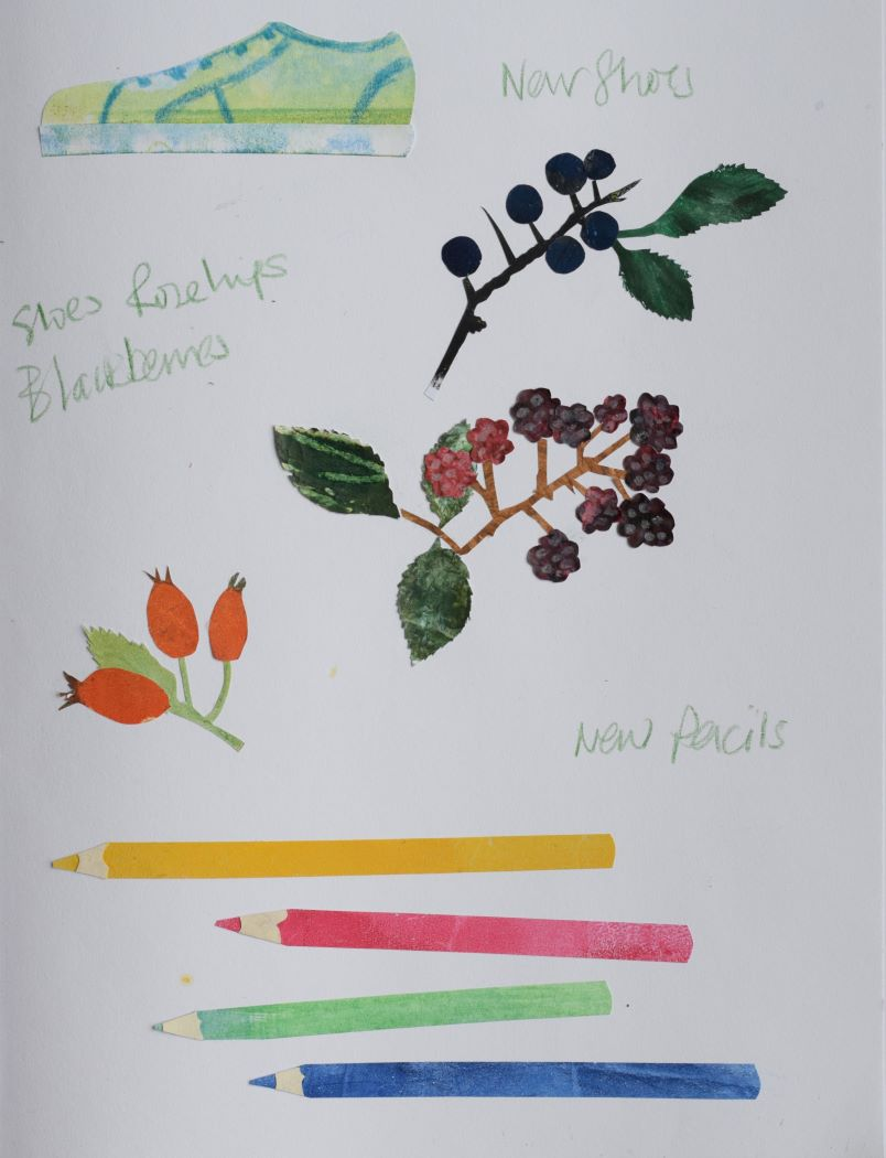 September collage of new shoes, sloes, blackberrries and rosehips