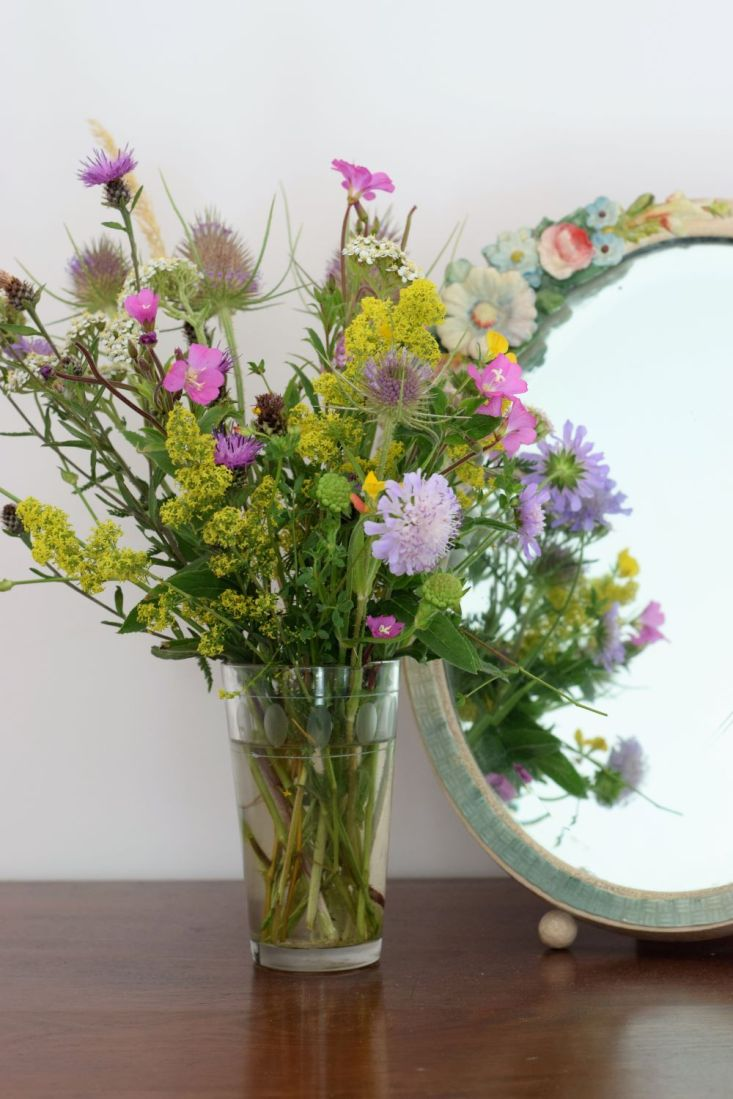 wildflowers and weeds in a vase
