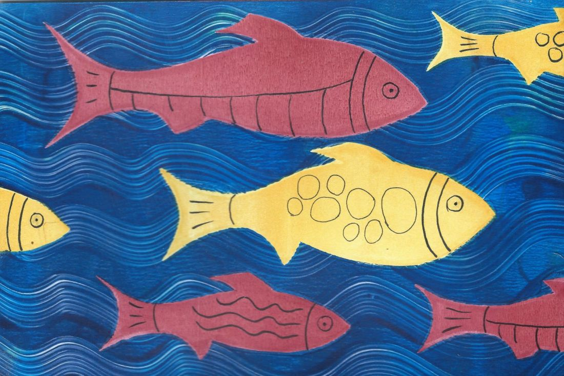 Letterbox Art Collaboration - fish from circles