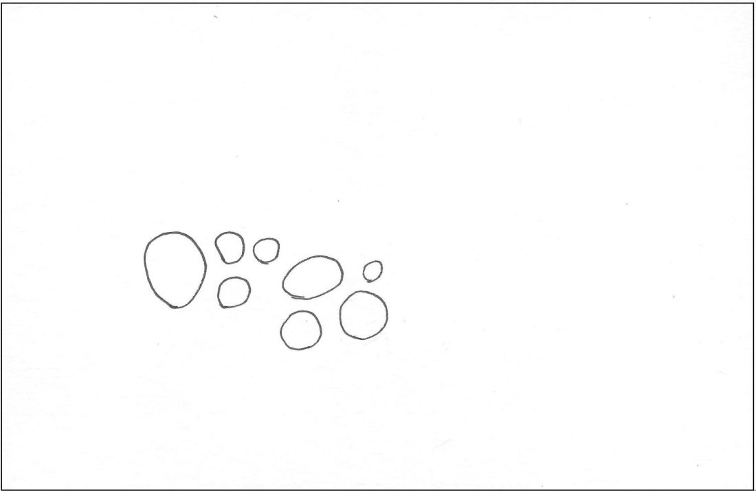 Art collaboration starter of circles drawn on card.