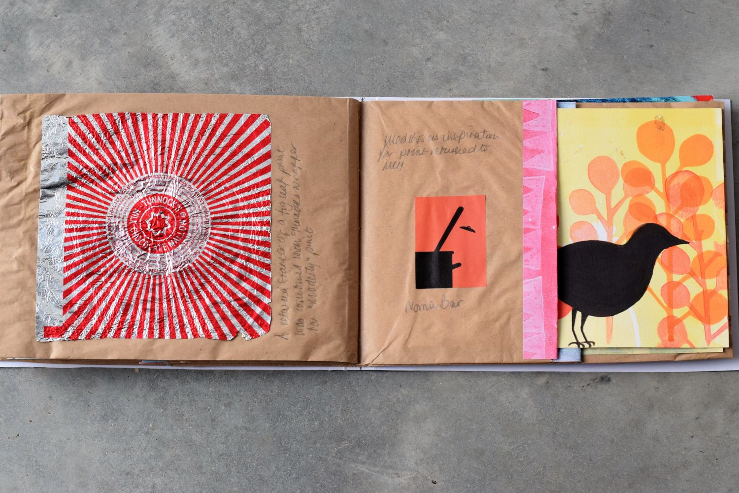 Paper bag book as part of the Letterbox Art Collaboration project. Tunnocks wrapper and blackbird