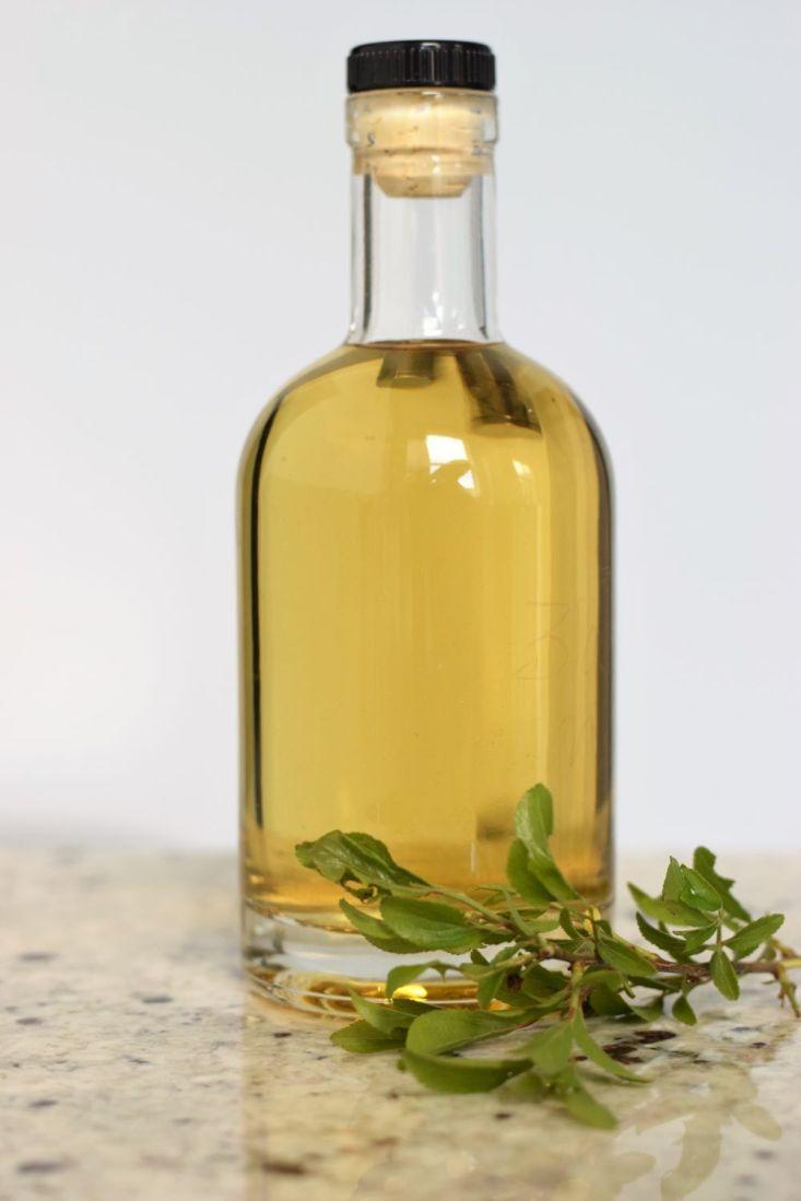 bottle of Blackthorn leaf gin with blackthorn leaves